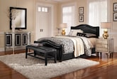 Bedroom Furniture-The Brentwood Black Collection-Brentwood Black Queen Bed