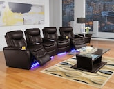 Living Room Furniture-The Colfax Chocolate Collection-Colfax Chocolate 4 Pc. Power Reclining Home Theater Sectional