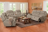 Living Room Furniture-The Springer Wheat Collection-Springer Wheat Dual Power Reclining Sofa