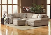 Living Room Furniture-The Salina Taupe Collection-Salina Taupe 3-Piece Sectional