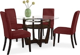 Dining Room Furniture-Daly Red 5 Pc. Dinette