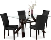 Dining Room Furniture-Vero Black 5 Pc. Dinette