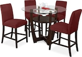 Dining Room Furniture-Daly II Red 5 Pc. Dinette