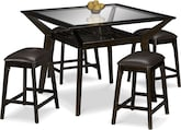Dining Room Furniture-Devlin 5 Pc. Counter-Height Dinette w/ 4 Backless Stools