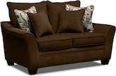 Living Room Furniture-Albion Chocolate Loveseat