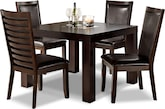 "Dining Room Furniture-Karmon Costa Brown 5 Pc. Dinette (42"" Table)"