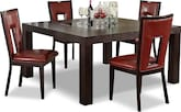 "Dining Room Furniture-Karmon Paso Red 5 Pc. Dinette (60"" Table)"