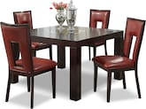 "Dining Room Furniture-Karmon Paso Red 5 Pc. Dinette (50"" Table)"