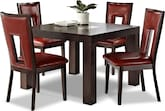 "Dining Room Furniture-Karmon Paso Red 5 Pc. Dinette (42"" Table)"