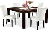 "Dining Room Furniture-Karmon Vero White 5 Pc. Dinette (60"" Table)"
