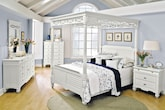 Bedroom Furniture-The Magnolia White Canopy Collection-Magnolia White Canopy Queen Bed