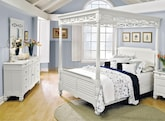 Bedroom Furniture-Magnolia White Canopy 5 Pc. Queen Bedroom