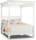 Bedroom Furniture-Magnolia White Canopy Queen Bed