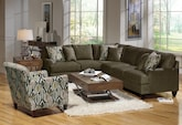 Living Room Furniture-The Elliot II Sage Collection-Elliot II Sage 2 Pc. Sectional