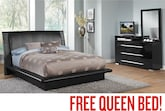 Bedroom Furniture-Prima Black Dresser & Mirror with Free Queen Bed