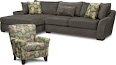 Living Room Furniture-Orleans Gray 2 Pc. Sectional and Accent Chair