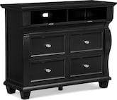 Bedroom Furniture-Hampden Black Media Chest