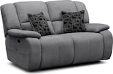 Living Room Furniture-Fortuna Gray Power Reclining Loveseat
