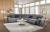 Living Room Furniture-The Fortuna II Gray Collection-Fortuna II Gray 3 Pc. Power Reclining Sectional