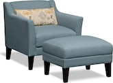 Living Room Furniture-The Bowen Collection-Bowen Accent Chair & Ottoman
