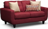 Living Room Furniture-Walker Red Loveseat
