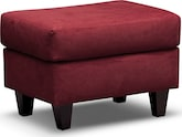 Living Room Furniture-Walker Red Ottoman