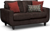 Living Room Furniture-Walker Chocolate Loveseat