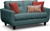 Living Room Furniture-Walker Blue Loveseat