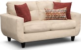 Living Room Furniture-Walker Cream Loveseat