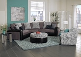 Living Room Furniture-The Kimba Black Collection-Kimba Black 3-Piece Sectional