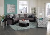 Living Room Furniture-The Kimba Black Collection-Kimba Black 3-Piece Sectional