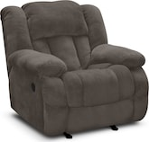 Living Room Furniture-Mullins Gray Glider Recliner