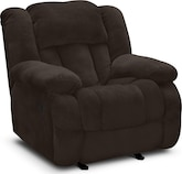 Living Room Furniture-Mullins Chocolate Glider Recliner