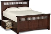 Bedroom Furniture-Wentworth Dark Storage Queen Storage Bed