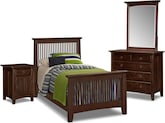 Kids Furniture-Wentworth II Dark 6 Pc. Twin Bedroom