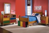 Kids Furniture-Riley Pine 6 Pc. Full Bedroom