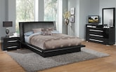 Bedroom Furniture-Prima Black 6 Pc. Queen Bedroom