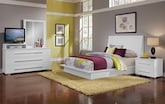Bedroom Furniture-Prima II White 6 Pc. King Bedroom