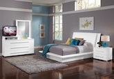 Bedroom Furniture-Prima White 6 Pc. Queen Bedroom