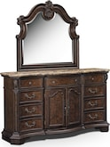 Bedroom Furniture-Monticello Pecan Dresser & Mirror