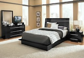 Bedroom Furniture-Prima II Black 6 Pc. Queen Bedroom