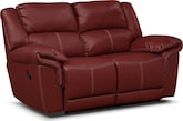 Living Room Furniture-Farrell Red Dual Reclining Loveseat