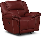 Living Room Furniture-Farrell Red Rocker Recliner