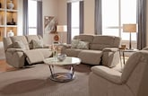 Living Room Furniture-The Fortuna Beige Collection-Fortuna II Beige Power Reclining Sofa
