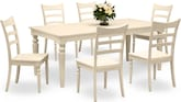 Dining Room Furniture-Thompson Cream 7 Pc. Dinette