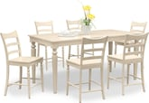 Dining Room Furniture-Thompson II Cream 7 Pc. Counter-Height Dinette