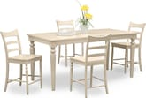 Dining Room Furniture-Thompson II Cream 5 Pc. Counter-Height Dinette