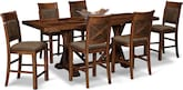 Dining Room Furniture-Greenfield Walnut 7 Pc. Counter-Height Dining Room