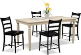 Dining Room Furniture-Thompson II Black 5 Pc. Counter-Height Dinette