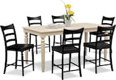 Dining Room Furniture-Thompson II Black 7 Pc. Counter-Height Dinette